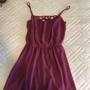Maroon dress with crochet detail